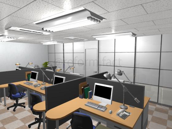 事務所,工事後,天井ジプトーン,壁紙クロス,床Pタイル,アルミパーテーション