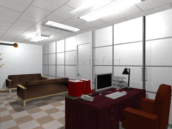 事務所,工事後,天井ジプトーン,壁紙クロス,床Pタイル,アルミパーテーション,応接間,社長室