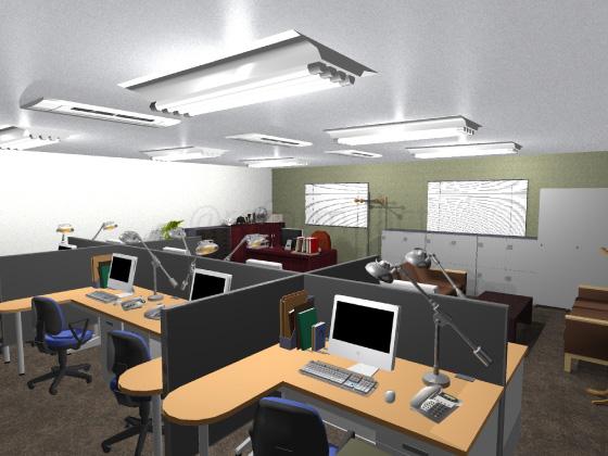 事務所,工事後,天井ジプトーン,壁紙クロス張り替え,床Pタイル,アクセントクロス緑色