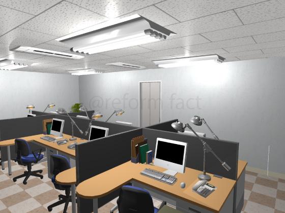 事務所,工事後,天井ジプトーン,壁紙クロス,床Pタイル,間仕切り壁
