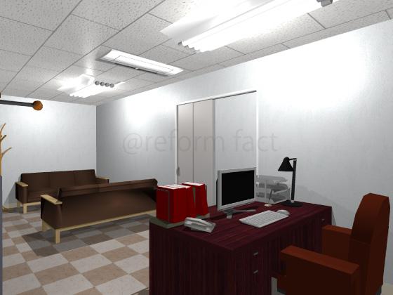 事務所,工事後,天井ジプトーン,壁紙クロス,床Pタイル,間仕切り壁,パーテーション,応接間,社長室