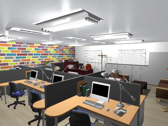 事務所,工事後,天井ジプトーン,壁紙クロス張り替え,床Pタイル,アクセントクロス柄カラフル
