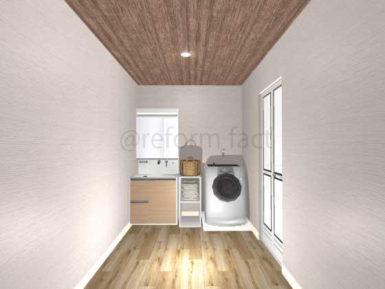洗面所,アクセントクロス,天井,茶色
