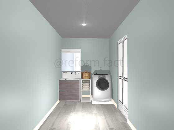 洗面所,アクセントクロス,天井,グレー