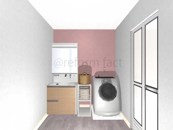 洗面所,アクセントクロス,ピンク