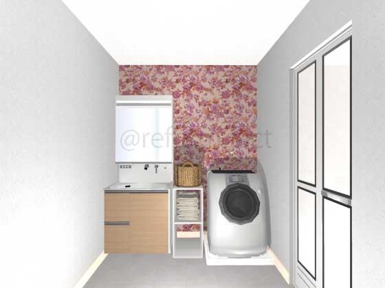 洗面所,アクセントクロス,ピンク,花柄