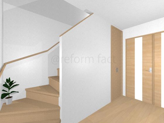 階段,フローリング張り替え前