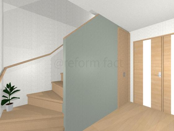 階段,壁紙張り後,アクセント,廊下壁