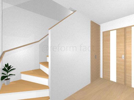 階段,フローリング張り替え後,リフォーム階段,リモデル階段