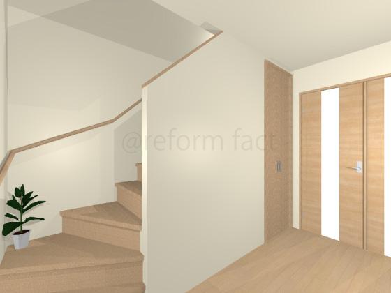階段,壁紙張り替え前,古い壁紙