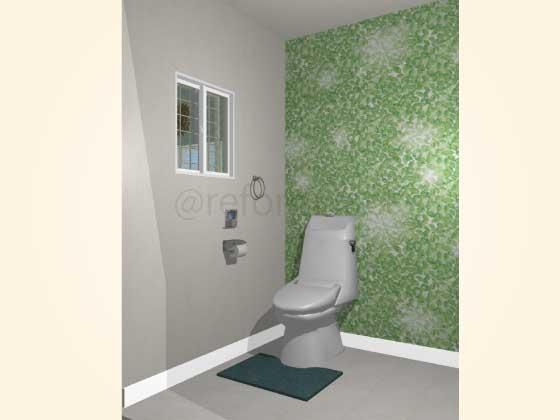 トイレアクセントクロス,ナチュラル,緑色(柄色)
