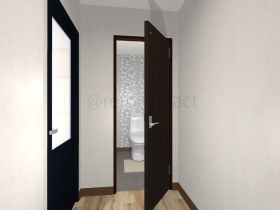 トイレ開き戸,開いている状態