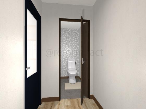 トイレ折れ戸,開いている状態