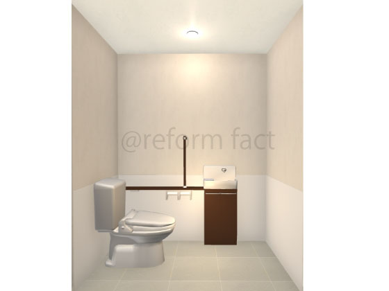 洋式トイレ,L型手すり,手洗い器