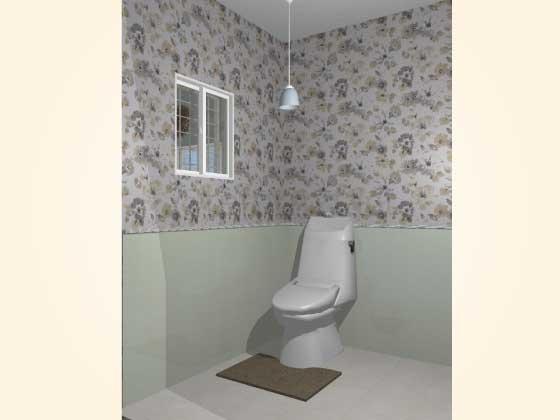 トイレ,腰壁パネル,工事後,アクセントクロス