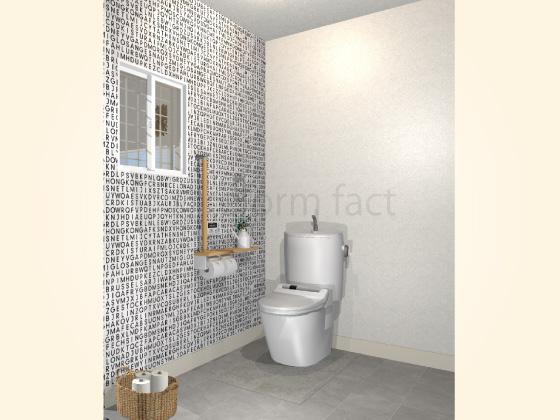 トイレ,TOTO,ハイドロセラフロア,グレー,アクセントクロス,白黒