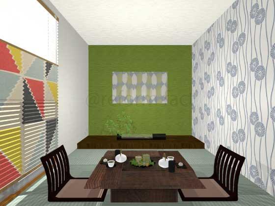 和室,アクセントクロス,緑色,ポップ