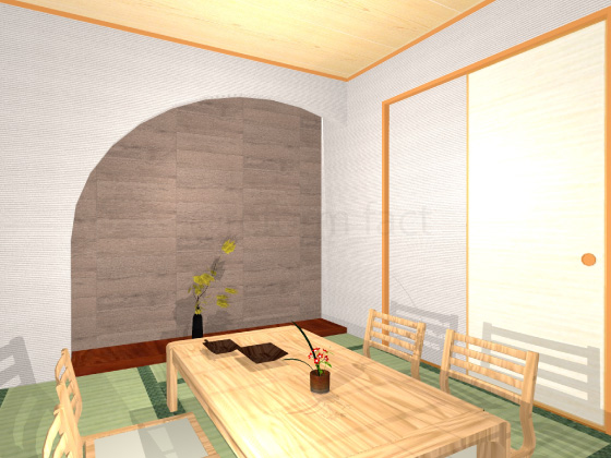 和室,ビンテージオーク,壁一面
