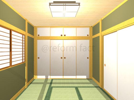和室,壁,塗り替え,聚楽,緑